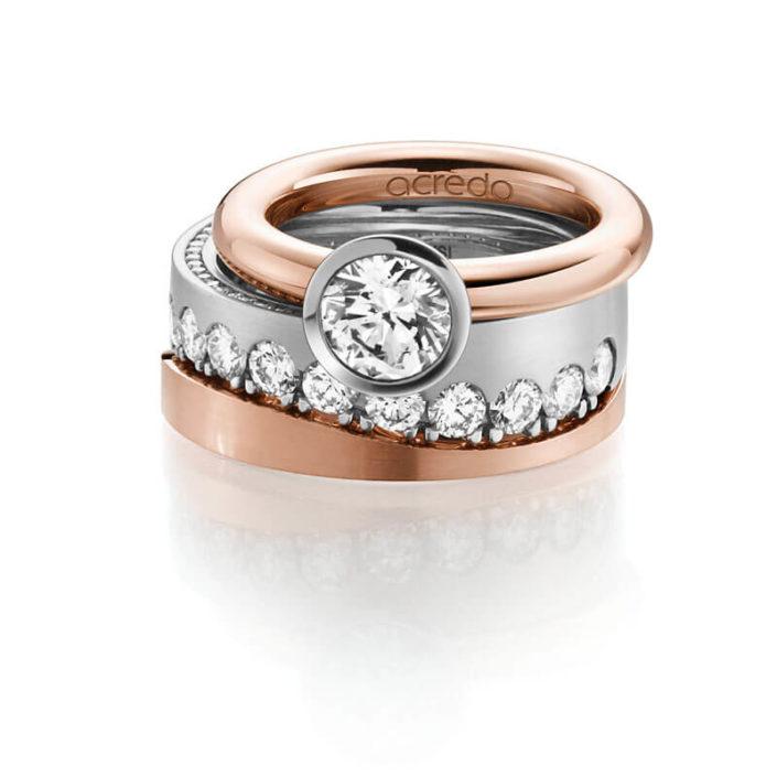 Verlobungsringe - Ringset aus 3 Ringen, Platin und Rotgold