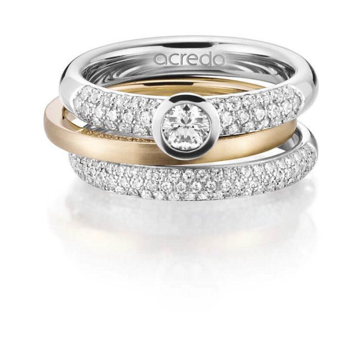 Ringset aus 3 Ringen, Platin und Roségold