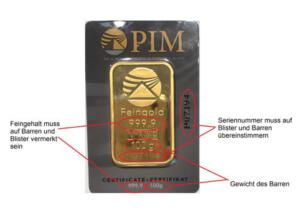 Sicherheitsmerkmale Vorderseite Goldbarren